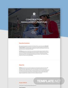 Free Simple Construction Management Proposal Template