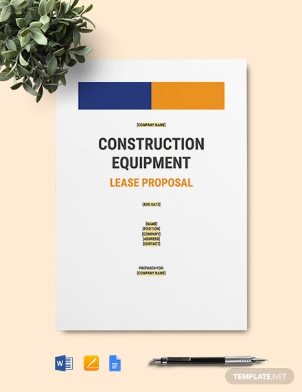 Construction Heavy Equipment Lease Proposal Template