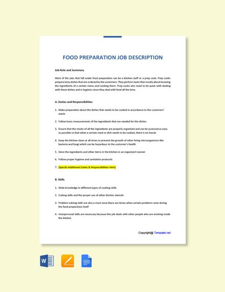 Free Food Preparation Job Ad/Description Template