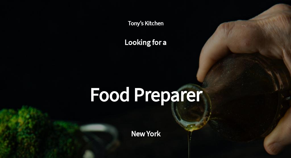 Food Preparation Job Ad/Description Template