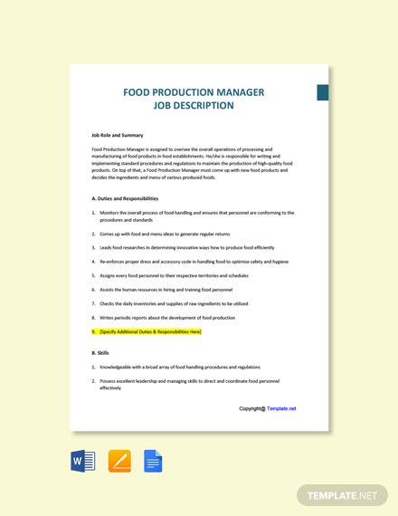 Free Food Production Manager Job Description Template