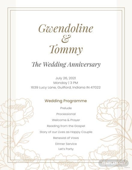 Free Anniversary Program Template In Adobe Photoshop Adobe - Wedding program template publisher