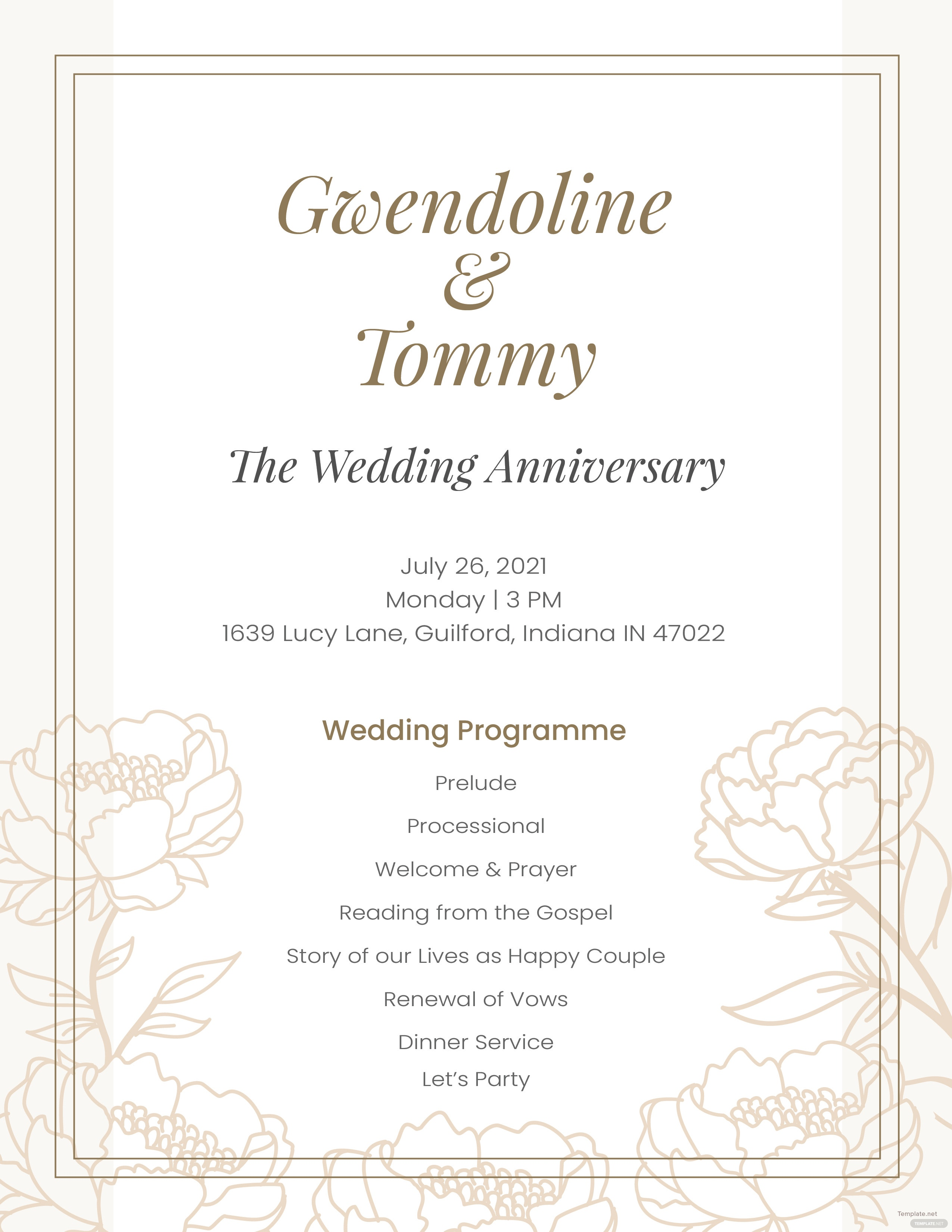 wedding anniversary program template in adobe photoshop