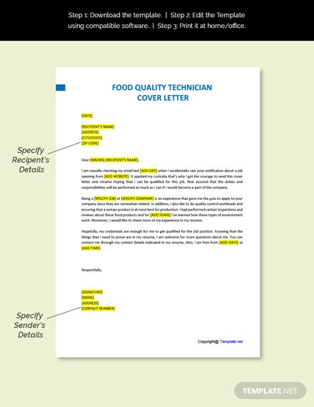 Food Quality Technician Cover Letter Template