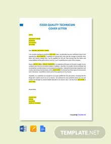 Free Food Quality Technician Cover Letter Template