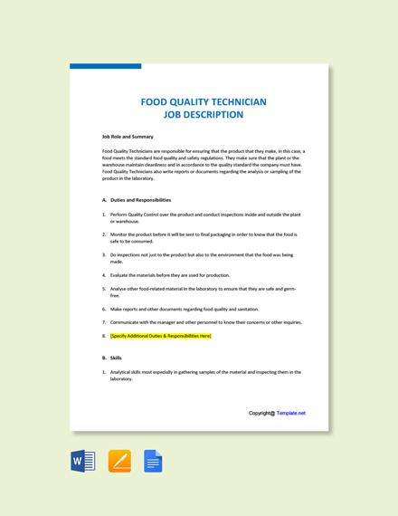 Free Food Quality Technician Job Ad/Description Template