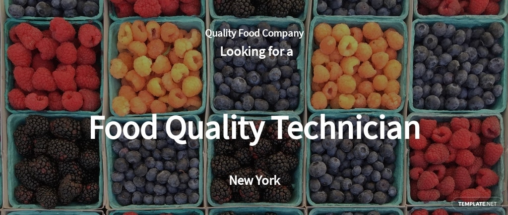Food Quality Technician Job Ad/Description Template