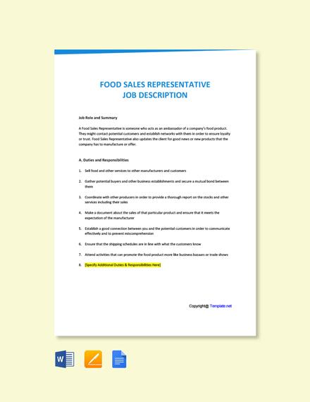 Free Food Sales Representative Job Ad/Description Template
