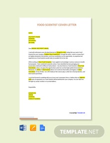 Free Food Scientist Cover Letter Template