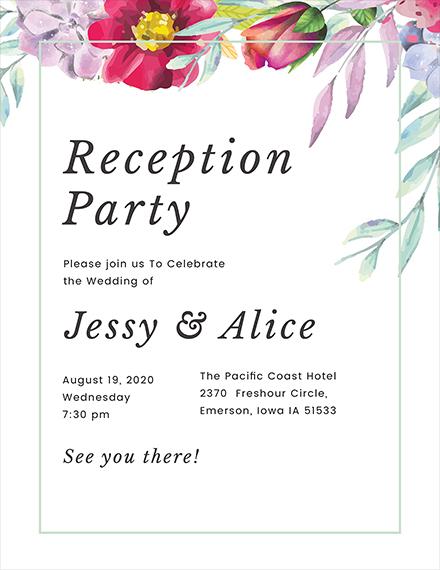 Floral Wedding Reception Program Template