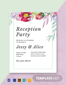 Free Floral Wedding Reception Program Template