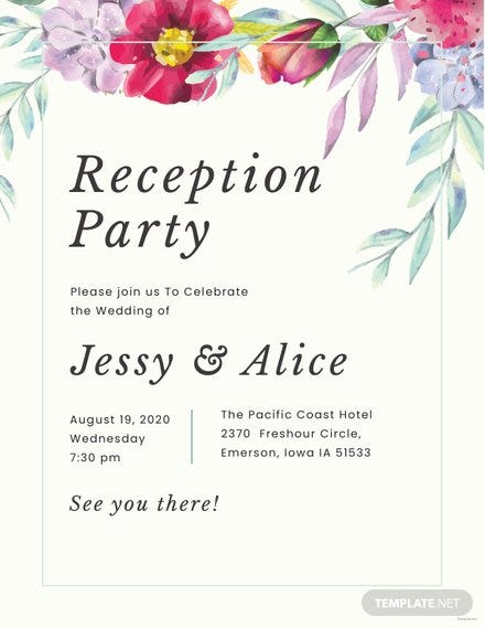 Floral Wedding Reception Program Template