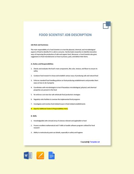 Free Food Scientist Job Description Template