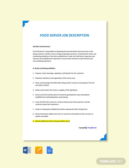 Free Food Server Job Ad/Description Template
