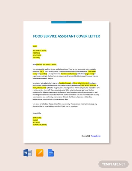 Free Food Service Assistant Cover Letter Template