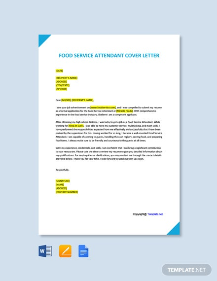 Free Food Service Attendant Cover Letter Template