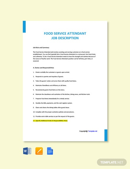 Free Food Service Attendant Job Ad/Description Template