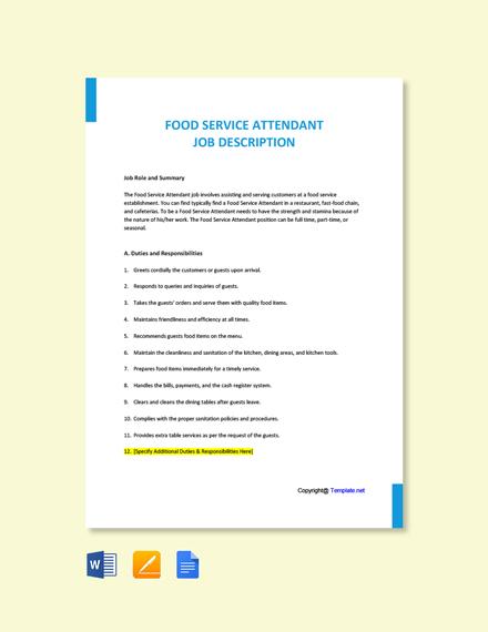 Free Food Service Attendant Job Description Template