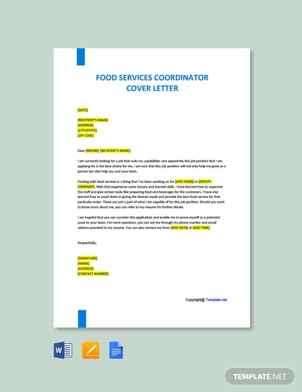 Free Food Service Coordinator Cover Letter Template