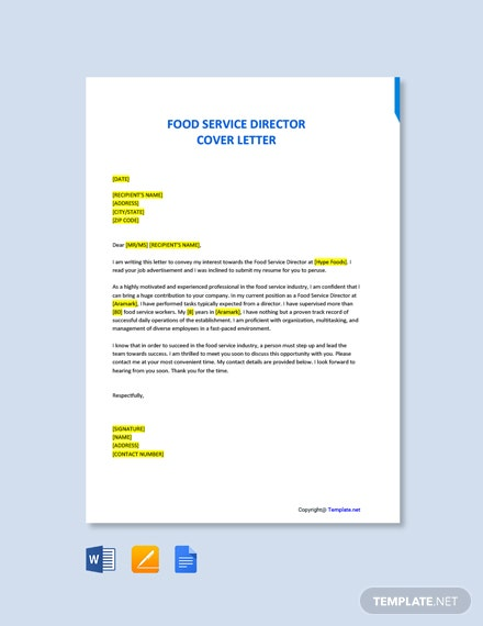 Free Food Service Director Cover Letter Template