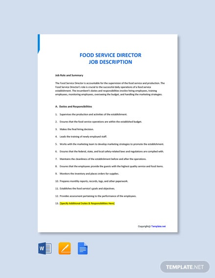 Free Food Service Director Job Ad/Description Template
