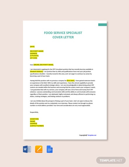 Free Food Service Specialist Cover Letter Template