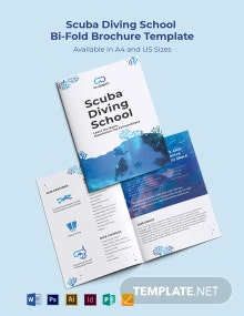 Scuba Diving School Bi-Fold Brochure Template