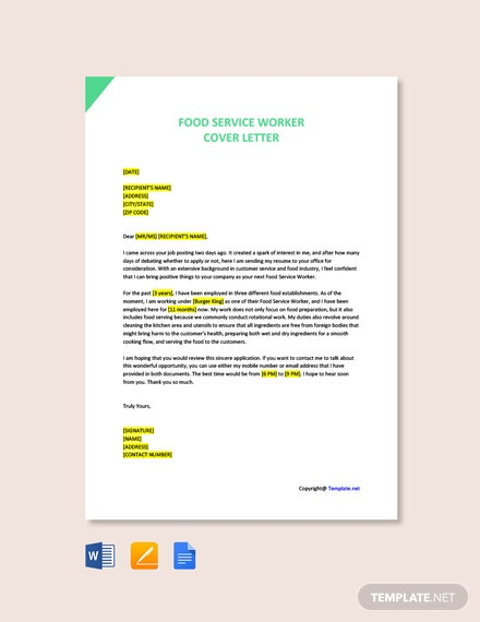 Free Food Service Worker Cover Letter Template