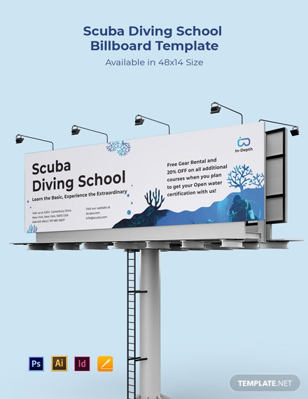 Scuba Diving School Billboard Template