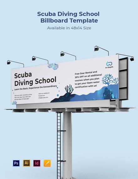 Scuba Diving School Billboard Template