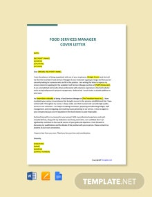Free Food Services Manager Cover Letter Template