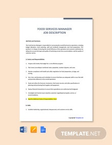 Free Food Services Manager Job Description Template