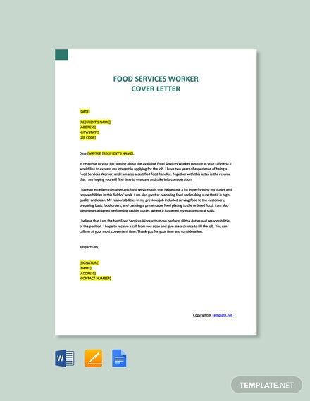 Free Food Services Worker Cover Letter Template