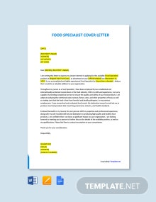 Free Food Specialist Cover Letter Template