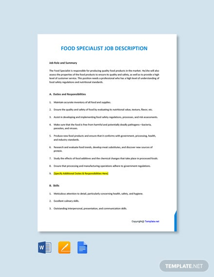 Free Food Specialist Job Description Template