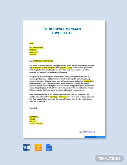 Free Food Service Manager Cover Letter Template