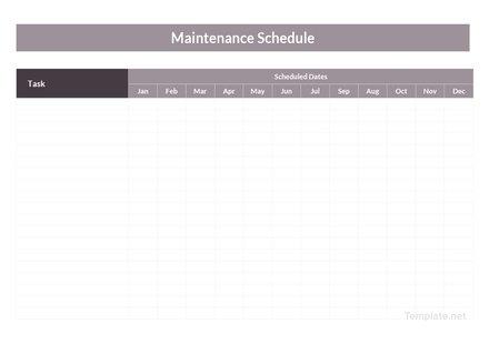 Basic Maintenance Schedule Template
