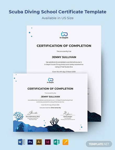 Scuba Diving School Certificate Template