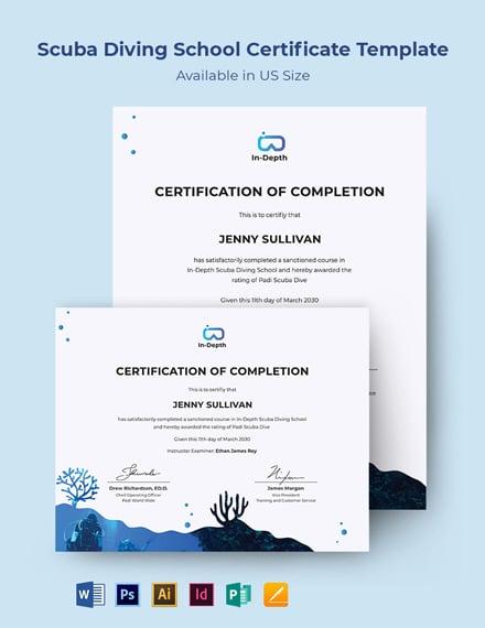 Scuba Diving School Certificate Template