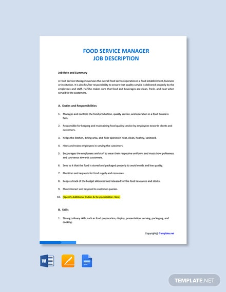 Free Food Service Manager Job Description Template