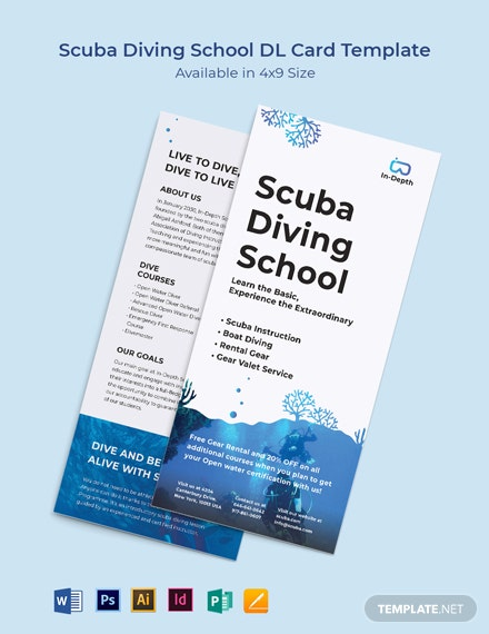 Scuba Diving School DL Card Template