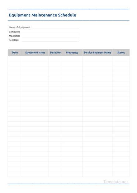 Equipment Maintenance Schedule Template