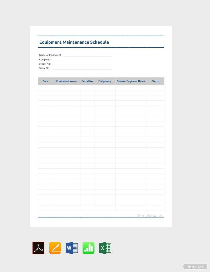 Free Equipment Maintenance Schedule Template