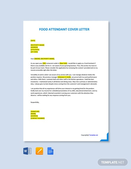 Free Food Attendant Cover Letter Template
