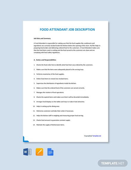 free food attendant job description