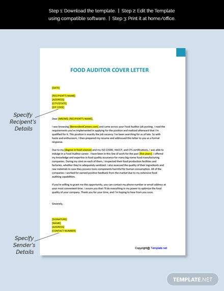 Food Auditor Cover Letter Template