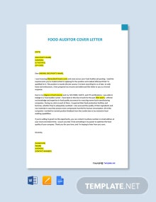 Free Food Auditor Cover Letter Template