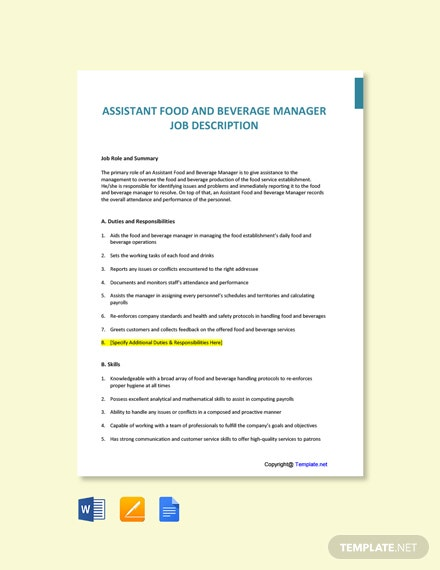Free Assistant Food and Beverage Manager Job Description Template