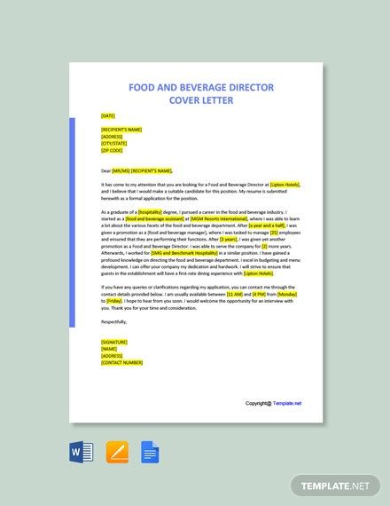 Free Food & Beverage Director Cover Letter Template