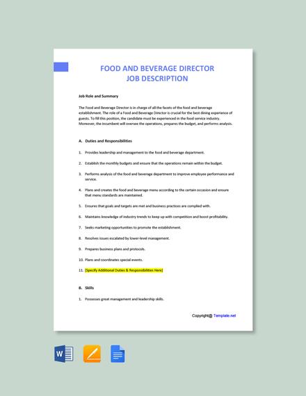 Free Food & Beverage Director Job Description Template